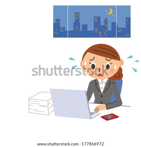 The female office worker who works overtime in the, middle of the night