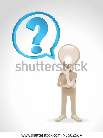 the figure of a man standing with a question mark - stock vector