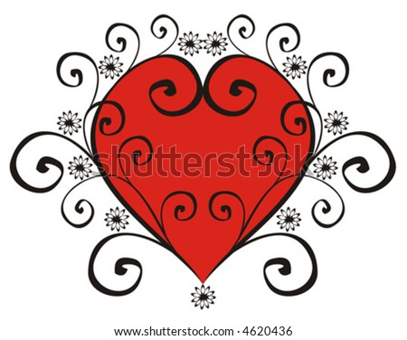 The figure representing red heart in a black pattern from curls and flowers on a white background