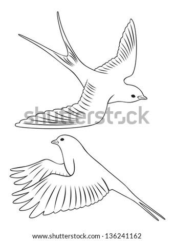 The figure shows a bird swallow - stock vector