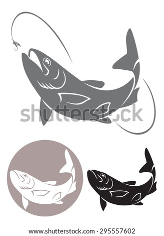 The figure shows a fly fishing - stock vector