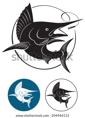 the figure shows a marlin fish - stock vector