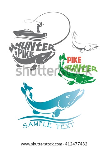 the figure shows a pike fish logo - stock vector
