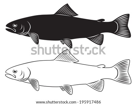 the figure shows a trout - stock vector