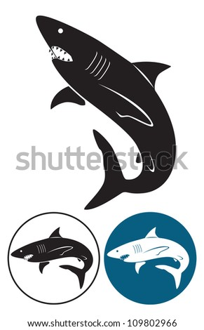 the figure shows a white shark - stock vector