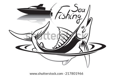 the figure shows sea fishing - stock vector