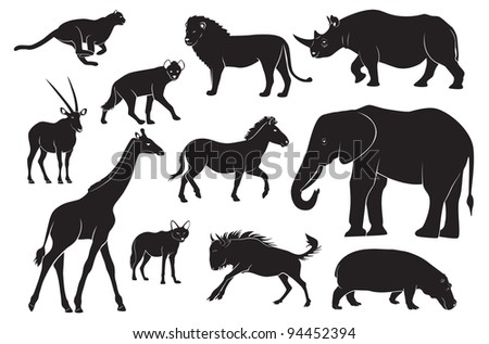 the figure shows the animals of Africa - stock vector