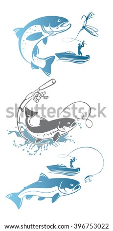 the figure shows the fishing trout - stock vector