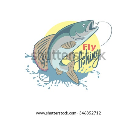 the figure shows the fly fishing - stock vector