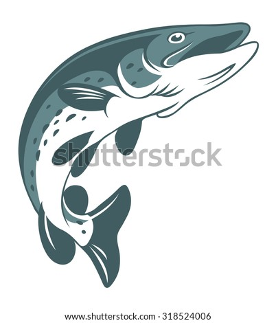 The figure shows the icons pike fishing - stock vector