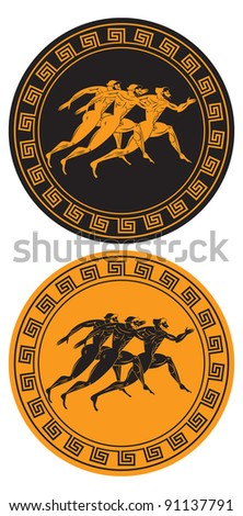 the figure shows the pattern amphorae - stock vector