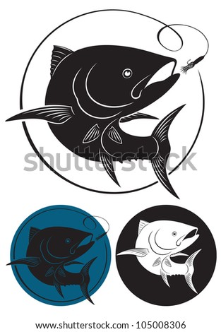 the figure shows the tuna - stock vector