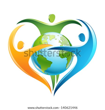 The figures surround Earth in a shape of a heart - stock vector