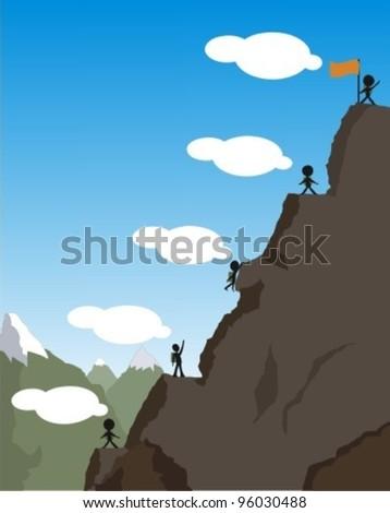 The financial crisis Concept. climbing on the mountain - stock vector