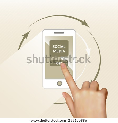 The finger of a hand press the button of enter to a social media on the smartphone background - stock vector