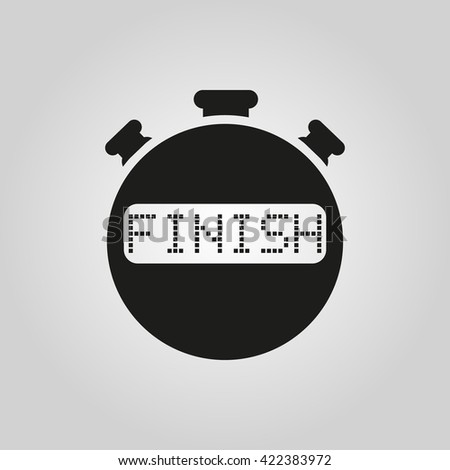 The finish stopwatch icon. Clock and watch, timer, countdown symbol. UI. Web. Logo. Sign. Flat design. App. Stock vector - stock vector
