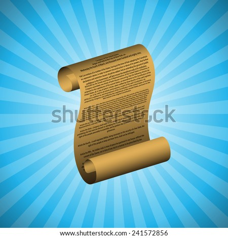 The first amendment on blue background (with readable text) - stock vector