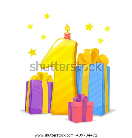 First Year Happy Birthday Card Child Stock Vector 409734472