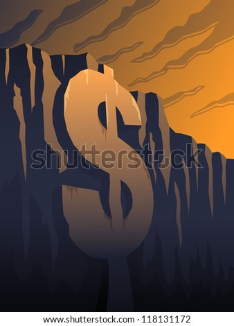 The fiscal cliff - a dollar sign in front of mountainside - stock vector
