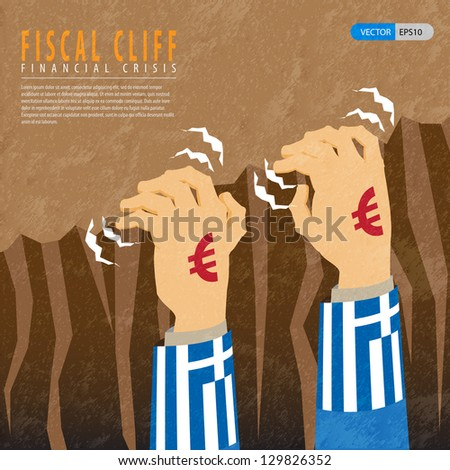 the fiscal cliff is the sharp decline in the budget deficit that could have occurred due to increased taxes and reduced spending - stock vector