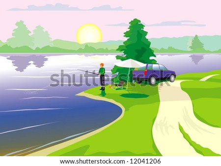 The fisherman will fish - stock vector