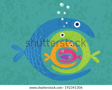 The fishes eating each other. The business concept for your design. - stock vector