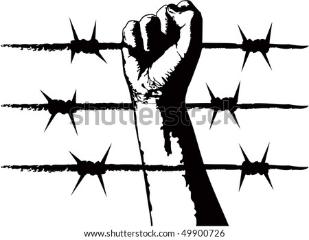 The fist and barbed wire. Symbol of the political repression - stock vector