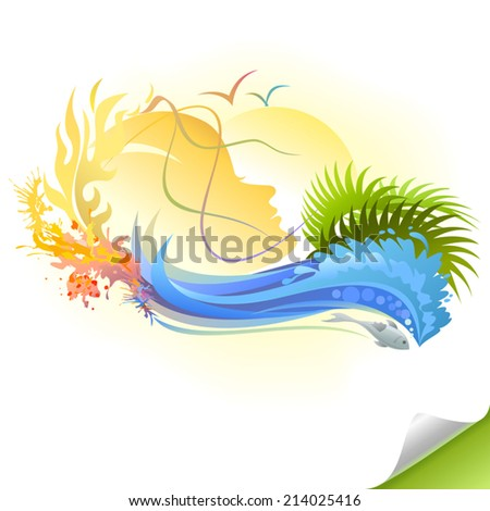 The five elements of mother nature - stock vector