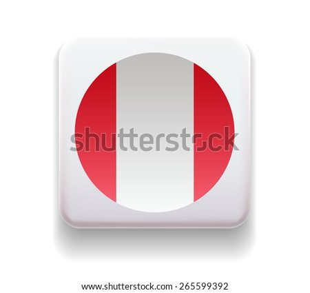 The flag is made in the form of a computer button for the web site. The national flag of the country. Illustration. Image. Icon. Vector. Flag of Peru - stock vector