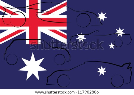 The flag of Australia with the outlines of many cars of different types - stock vector