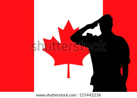 The flag of Canada and the silhouette of a soldier saluting - stock vector