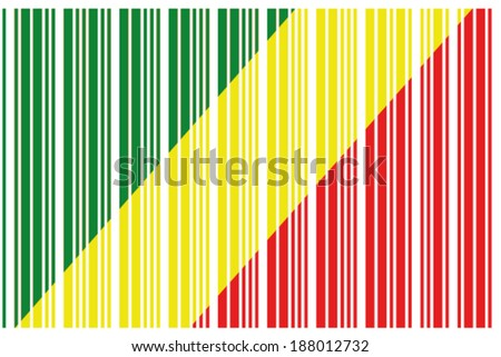 The Flag of Congo in a Barcode Format