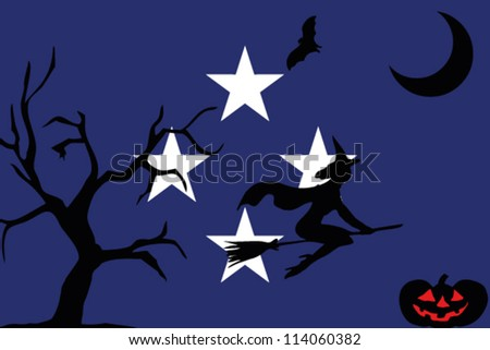 The flag of Federal States of Micronesia with halloween silhouettes