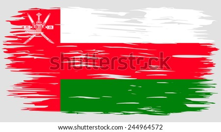 The flag of Oman. The national flag painted with a brush colored inks. Effects flag of the country. The flag on the wall. Background, grunge, paint, ink, color. Image. Vector. Icon.