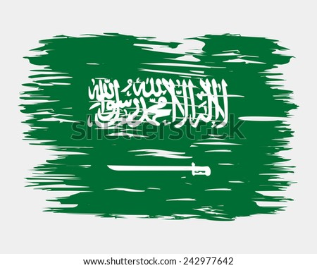 The flag of Saudi Arabia. The national flag painted with a brush colored inks. Effects flag of the country. The flag on the wall. Background, grunge, paint, ink, color. Image. Vector. Icon.