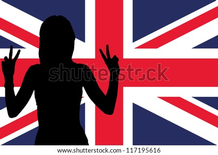 The flag of the United Kingdom with the silhouette of a woman with peace signs