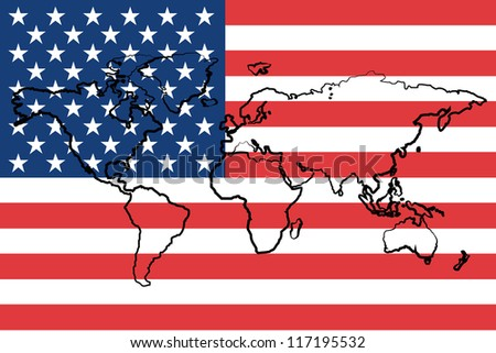 The flag of the United States of America with the outline of the world - stock vector
