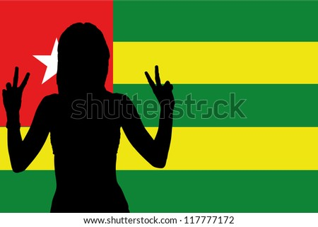 The flag of Togo with the silhouette of a woman with peace signs