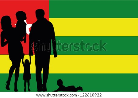 The flag of Tonga with the silhouette of a family