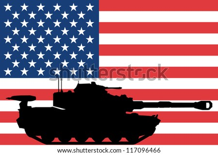 The flag of United States of America with the silhouette of a tank - stock vector
