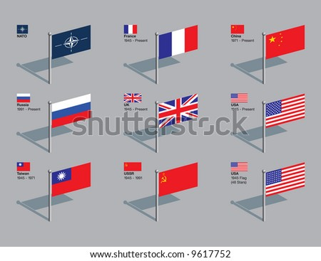 The flags of NATO and the five current permanent members of the UN Security Council, plus former members Taiwan and the USSR, and the US flag of 1945. Drawn in CMYK and placed on individual layers. - stock vector