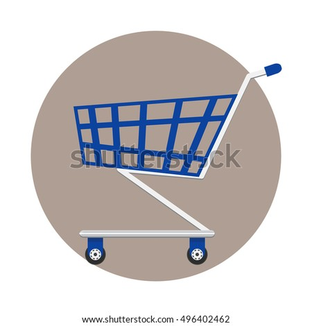 The flat design concept icon of a blue shopping cart with metallic parts and small wheels. Shopping Cart Symbol. Supermarket empty cart. Vector illustration of a shopping cart. Shopping Trolley icon.