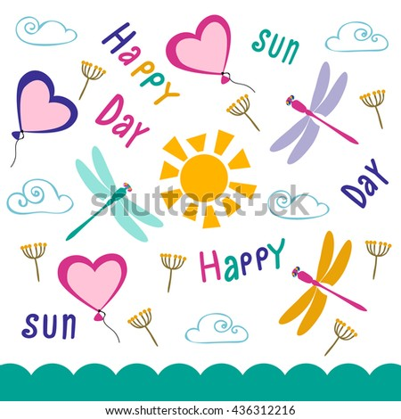 The flying balloons, dragonflies and the sun. The color picture with summer mood. Motley objects on a white background. Manual drawing of letters.