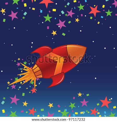 The flying rocket in space - stock vector