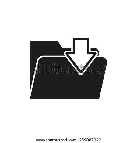 The folder icon. File download symbol. Flat Vector illustration - stock vector