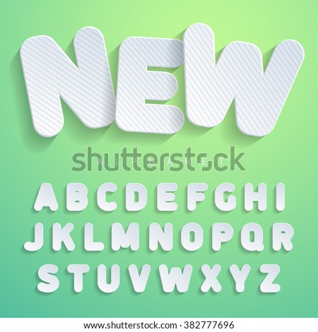 The font in the form of flat stickers design with horizontal stripes. Imitating cardboard, paper surfaces. For a wide use in advertising and web. Suitable for posters, banners. Vector Illuctration - stock vector