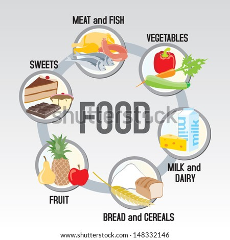 The food in groups: meat, poultry and fish + vegetables+ milk and dairy + cereals + fruit + sweets - stock vector
