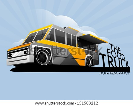 The food truck, street food delivery vehicle.  - stock vector