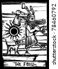 the fool is the First image in a tarot card deck. - stock vector