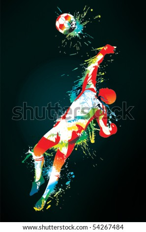 The football goalkeeper catches a ball on the black background. Vector illustration. - stock vector